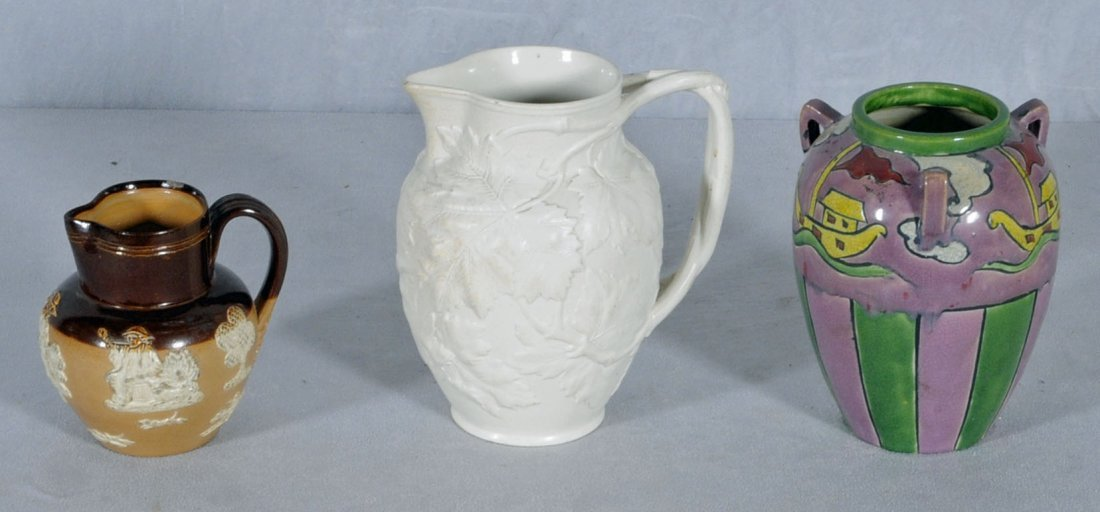 2: LOT OF THREE CERAMIC ITEMS. CONSISTING OF AN ANTIQUE