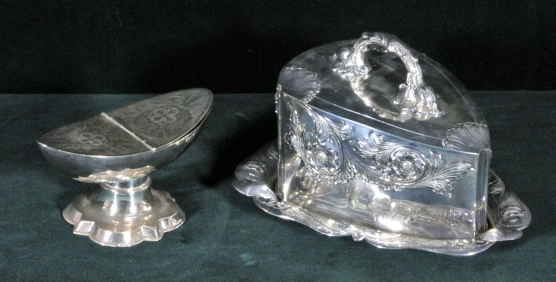 4: TWO ANTIQUE VICTORIAN SILVER PLATED ITEMS. CONSISTIN