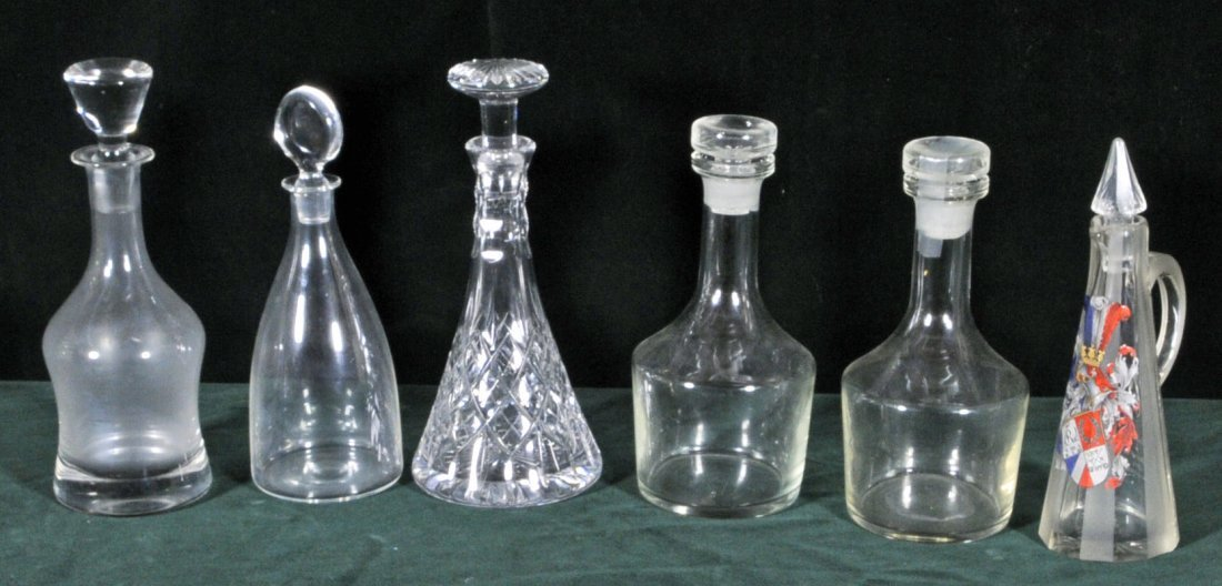 7: 6 MISC. GLASS DECANTERS. ONE HAS ENAMEL DECORATION,