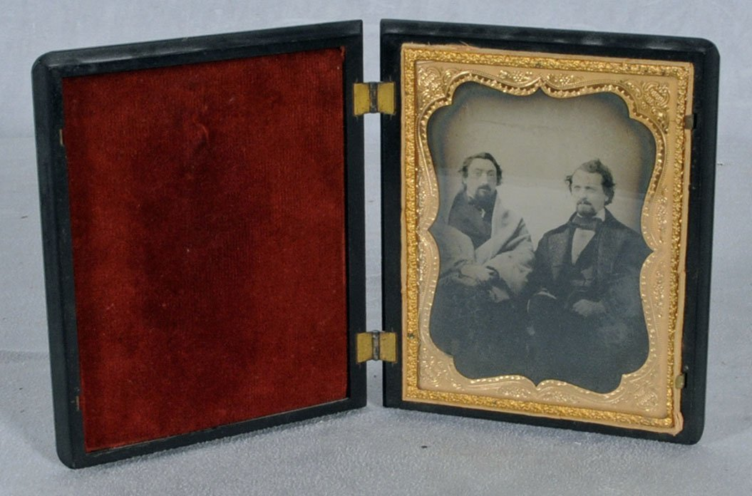10: ANTIQUE TINTYPE OF TWO MEN IN A GUTTA PERCHA