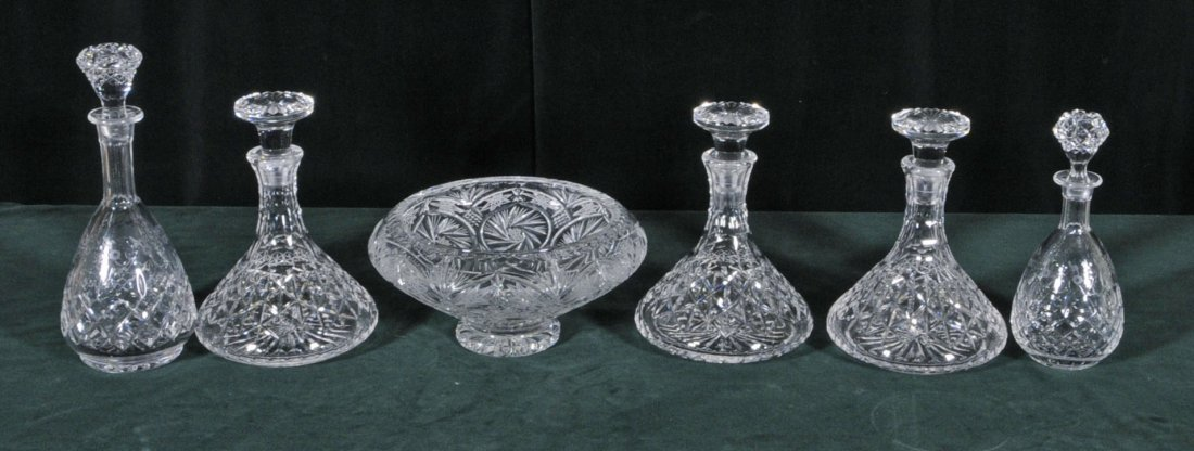 12: 6 PC. OF CUT GLASS. CONSISTING OF 3 SHIPS DECANTERS