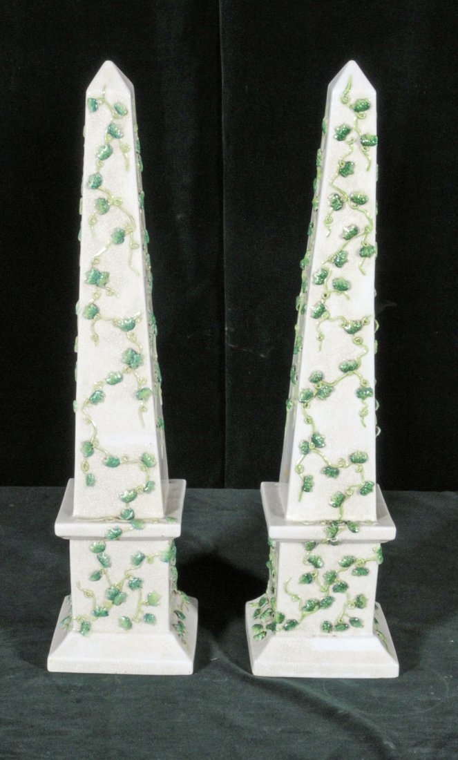 13: PAIR CHINESE PORCELAIN OBELISKS WITH W/ GREEN VINE
