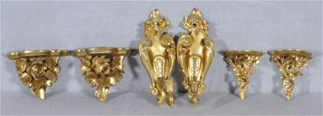 3 PR. OF CARVED GILTWOOD WALL BRACKETS & SCONCES. C