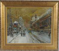 81: OIL PTG. CNV. 0F A WINTER PARIS STREET SCENE. SIGNE