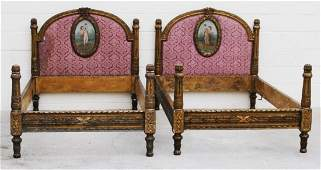 175: PR. ANTIQUE FRENCH LXVI STYLE TWIN BEDS. CARVED GI