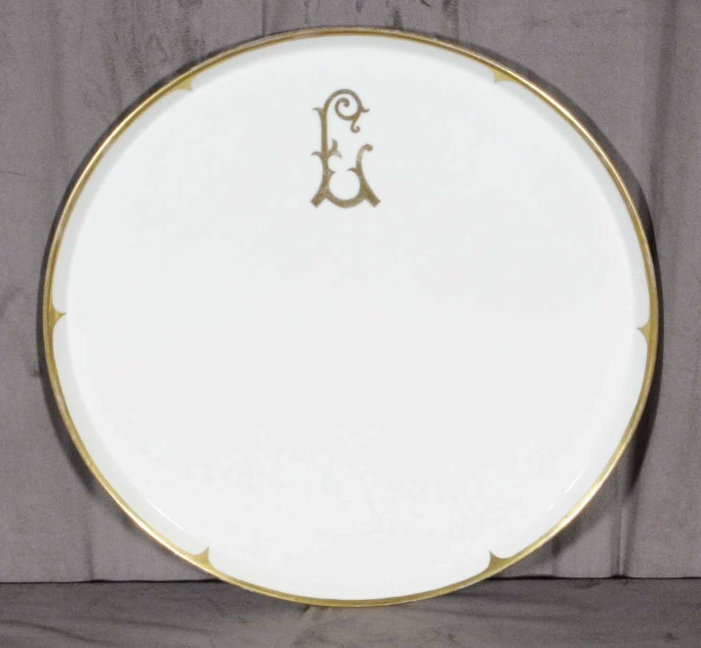 1: LIMOGES TRAY WHITE AND GOLD FRENCH PORCELAIN ROUND