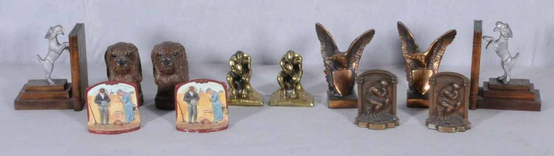 2: 6 PRS OF WOOD AND METAL BOOKENDS WITH ANIMALS AND FI