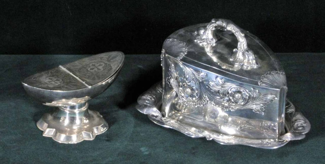 7: TWO ANTIQUE VICTORIAN SILVER PLATED ITEMS. CONSISTIN