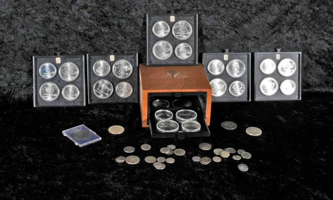 13: 28 OLYMPIC SILVER COINS, SILVER FOREIGN COINS AN