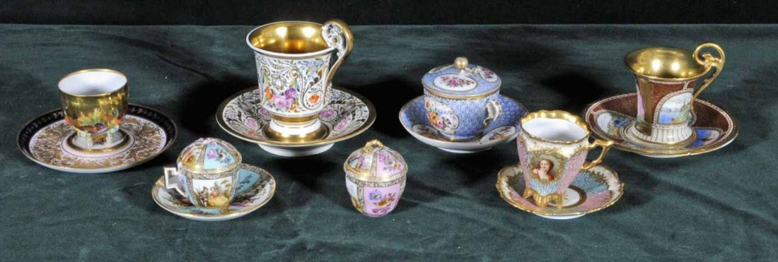 18: 7 MISC. CUPS AND SAUSERS.  2 ANTIQUE MEISSEN,  1 RO