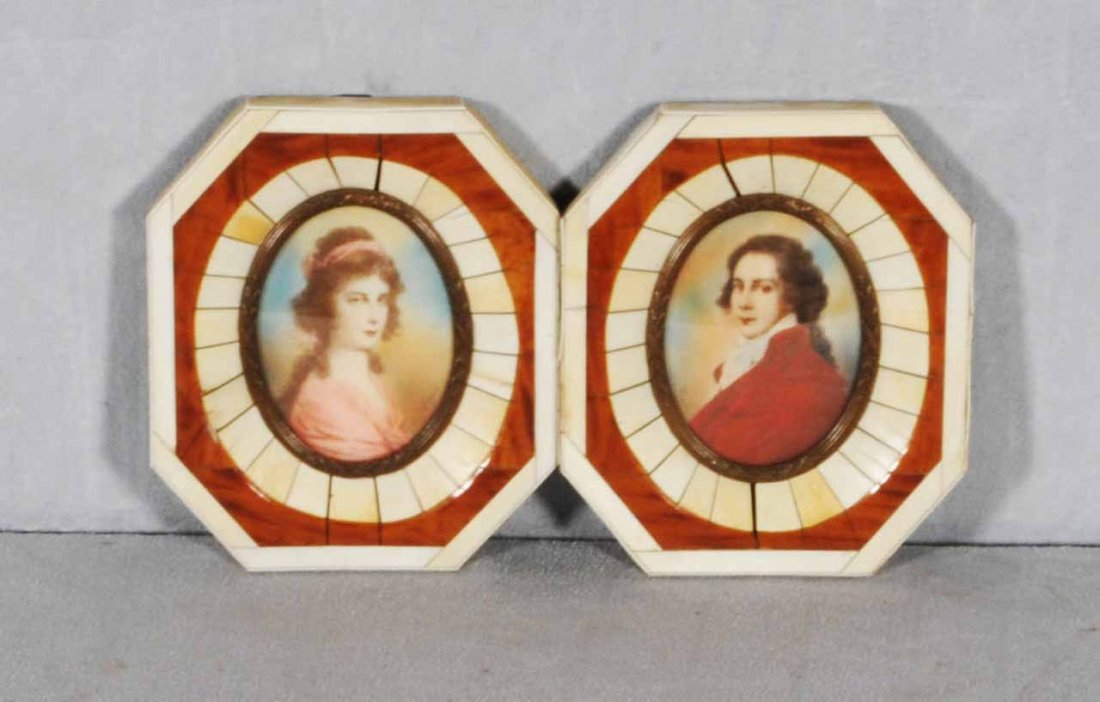 21: 2 MINIATURE PICTURES OF A MAN & LADY. IVORY AND B