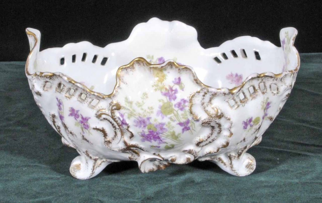 22: FRENCH OPENWORK LIMOGES PORCELAIN BOWL WITH PURPLE