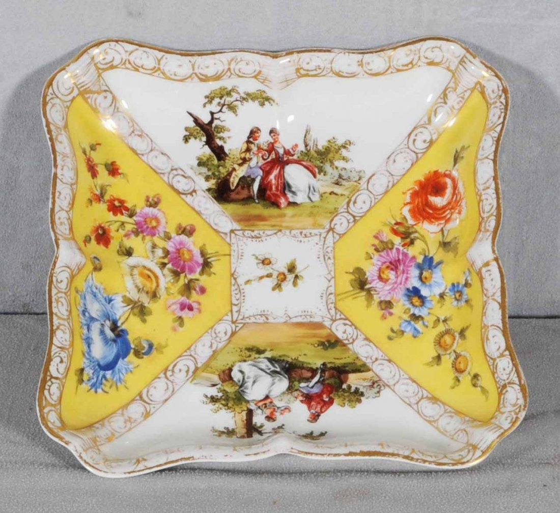 23: YELLOW MEISSEN  FIGURAL BOWL.   2 YELLOW FLORAL PAN
