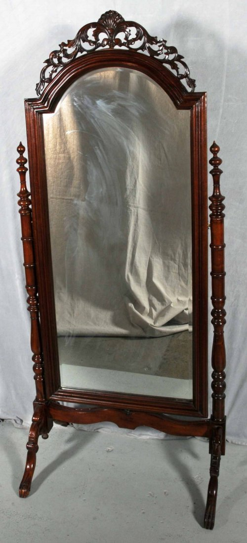 56: CARVED MAHOGANY CHEVAL MIRROR WITH CARVED OPEN WORK