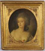 179: LATE 17TH/ 18TH C. OIL PAINTING ON CANVAS OF LADY