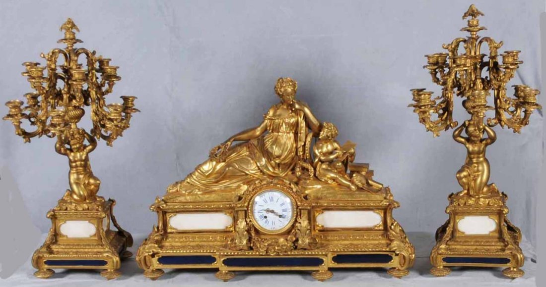 180: ANT 3 PC FRENCH BRONZE AND MARBLE CLOCK SET