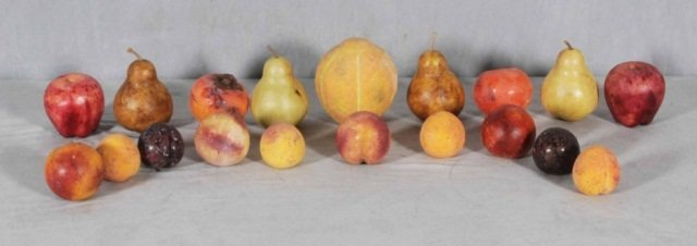 2: LOT OF COLORED & CARVED MARBLE FRUITS. GOOD. (TK)