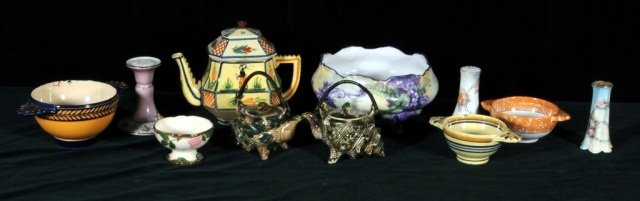 3: MISC. LOT OF 11 PIECES OF POTTERY & PORCELAIN. CONSI