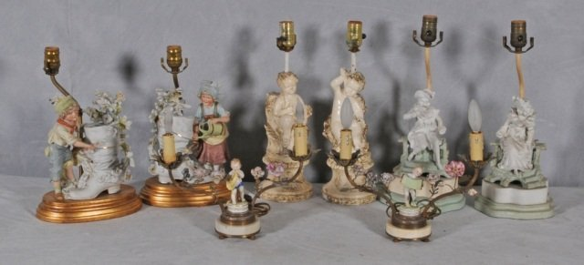6: LOT OF 4 PAIRS OF BOUDOIR LAMPS;   ALL HAVE FIGURAL