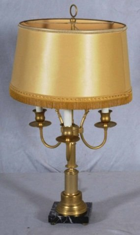 9: 3 LT. BRONZE TABLE LAMP.  REEDED COLUMN ON A BLACK M