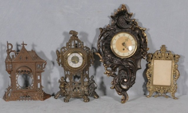 11: 4 PCS. CONSISTING OF 3 BRASS CLOCKS &  A  FRAME. CL