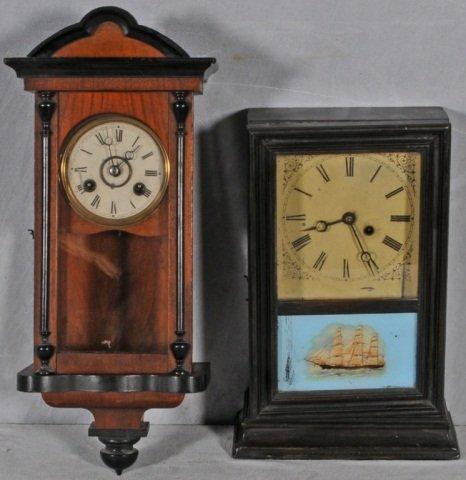 13: 2 SMALL ENGLISH  &  AMERICAN  WALL CLOCKS. CLOCKS D