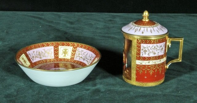 15: ROYAL VIENNA COVERED CUP AND SAUCER. PAINTED PANEL