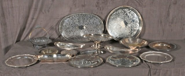 17: 13 PC. SILVER PLATED LOT OF TRAYS, BASKETS AND SHAL