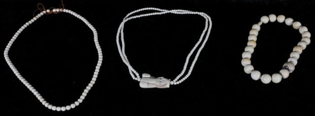 21: 3 CHINESE CARVED IVORY NECKLACES.  2 HAVE  IVORY BA