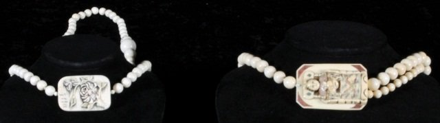 23: 2 CHINESE CARVED IVORY NECKLACES.  1 HAS   A QUAN Y