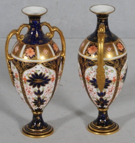 102: PAIR OF ANTIQUE ROYAL CROWN DERBY TWO HANDLE VASES - 2