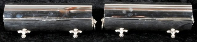 3: PR. SILVER PLATED & FOOTED WINE BOTTLE  HOLDERS. LIO