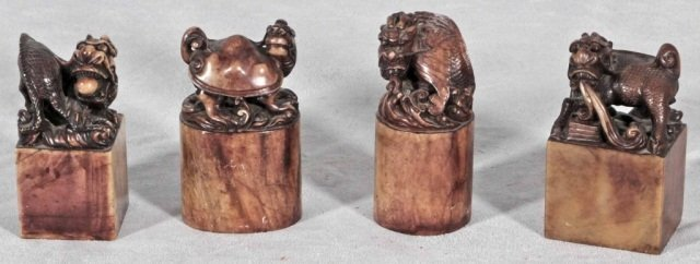 4: 4 CHINESE CARVED SOAPSTONE  FIGURES  OF ANIMALS ON B