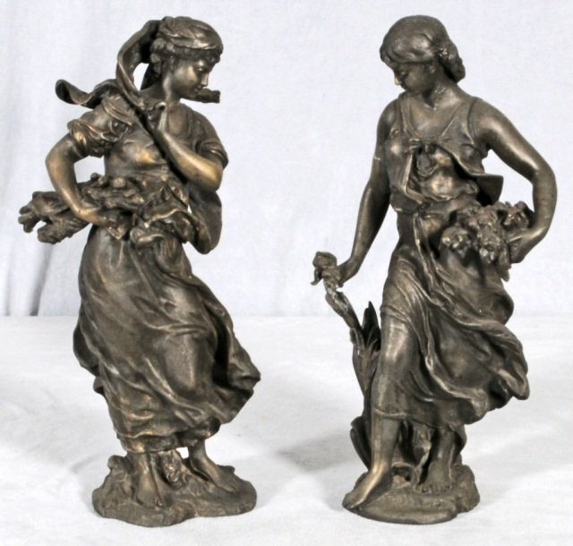 17: 2 SPELTER FIGURES OF LADIES GATHERING FLOWERS AND W