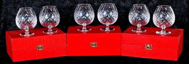 19: 6 PC. CARTIER GLASS BRANDY SNIFTERS. ORIGINAL BOXES