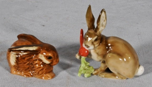 4: 2 PORCELAIN FIGURES OF RABBITS.  1 GOEBEL & 1 HUTCHE