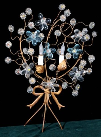 7: 2 LIGHT  FLORAL DESIGN METAL WALL SCONCE. GOOD. 23""