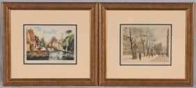 2 COLORED ENGRAVINGS.  LANDSCAPE SCENES. GOOD. 6 1/2