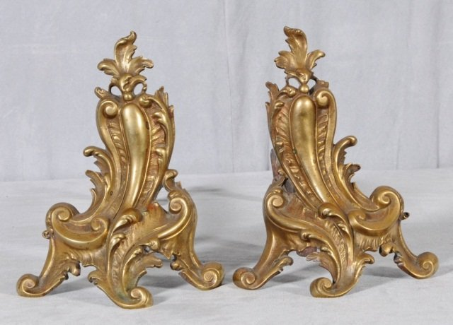 "11: PR. SMALL BRONZE SCROLL DESIGN ANDIRONS. GOOD. 9"" H"