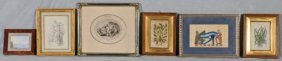 6  ANTIQUE PRINTS.  TWO ARE FIGURAL, TWO ARE BOTANI