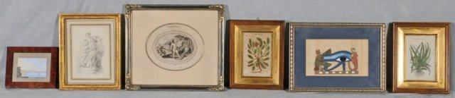12: 6  ANTIQUE PRINTS.  TWO ARE FIGURAL, TWO ARE BOTANI