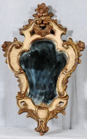 13: SMALL GILT AND WHITE PAINTED  SHAPED WALL MIRROR. S