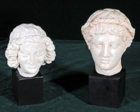 2 ITALIAN WHITE BUSTS ON  BLACK WOOD BASES. GOOD. 7