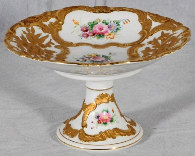 16: WHITE PORCELAIN COMPOTE.  RAISED GILT DECORATION W/