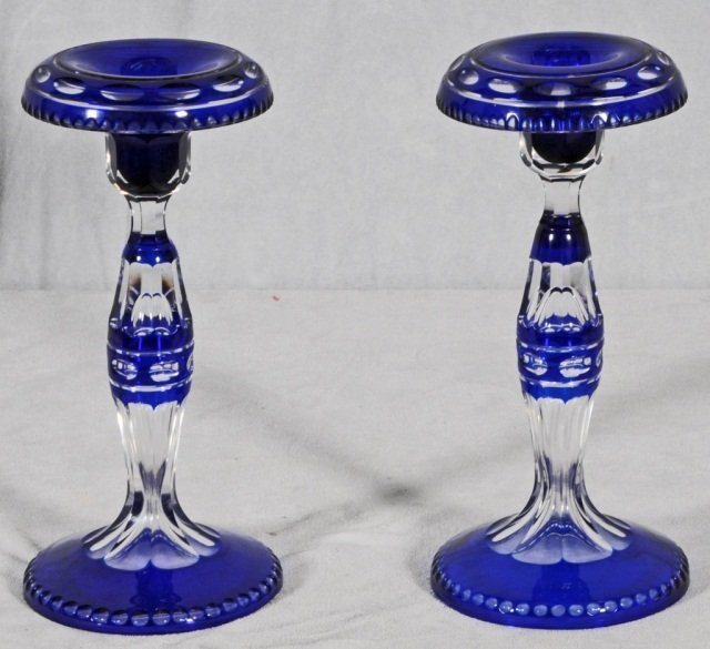 17: BOHEMIAN BLUE CUT TO CLEAR  GLASS CANDLESTICKS. GOO