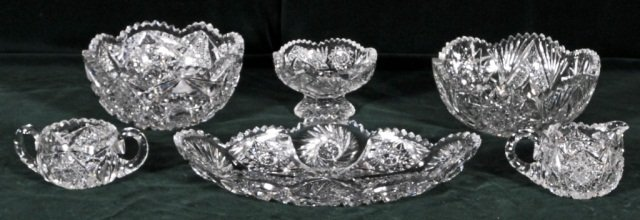20: 6 PIECES OF AMERICAN CUT GLASS CONSISTING OF BOWLS,