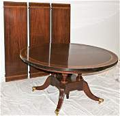 171 ROUND ENGLISH SHERATON STYLE  DINING TABLE SATINW
