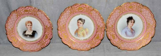176: SET OF 6 ANTIQUE FRENCH SEVRES PORCELAIN PORTRAIT
