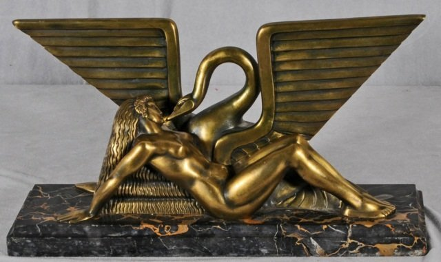 216: ART DECO BRONZE  SCULPTURE OF A  NUDE LADY & A SWA