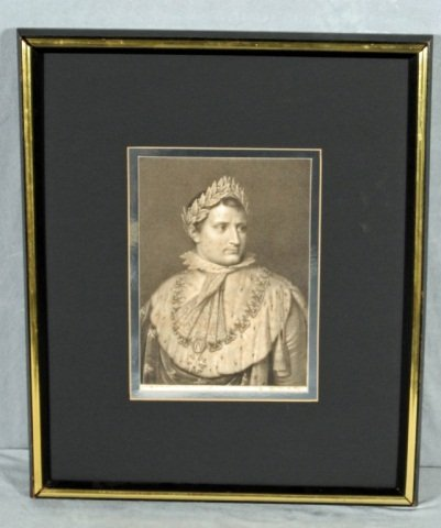 13: FRAMED  ANTIQUE STEEL  ENGRAVING OF NAPOLEON. GOOD.
